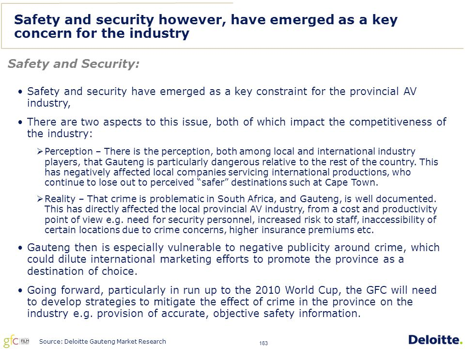 163 Safety and security however, have emerged as a key concern for the industry Safety and Security: Source: Deloitte Gauteng Market Research Safety and security have emerged as a key constraint for the provincial AV industry, There are two aspects to this issue, both of which impact the competitiveness of the industry:  Perception – There is the perception, both among local and international industry players, that Gauteng is particularly dangerous relative to the rest of the country.