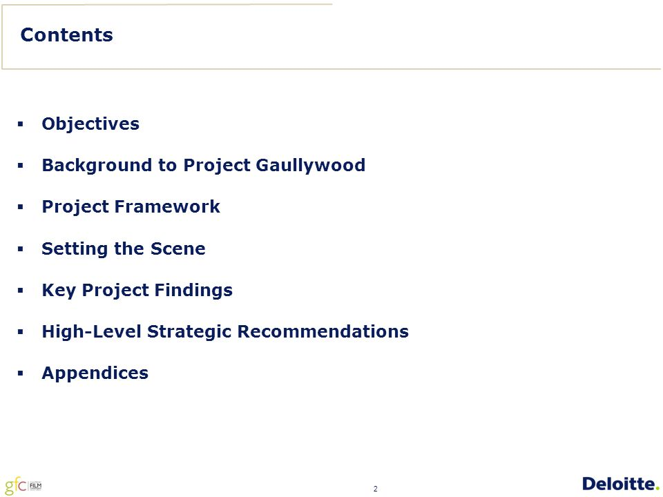2 Contents  Objectives  Background to Project Gaullywood  Project Framework  Setting the Scene  Key Project Findings  High-Level Strategic Recommendations  Appendices