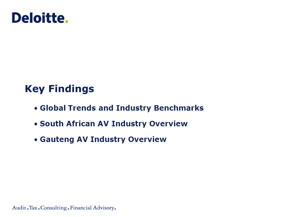 Key Findings Global Trends and Industry Benchmarks South African AV Industry Overview Gauteng AV Industry Overview