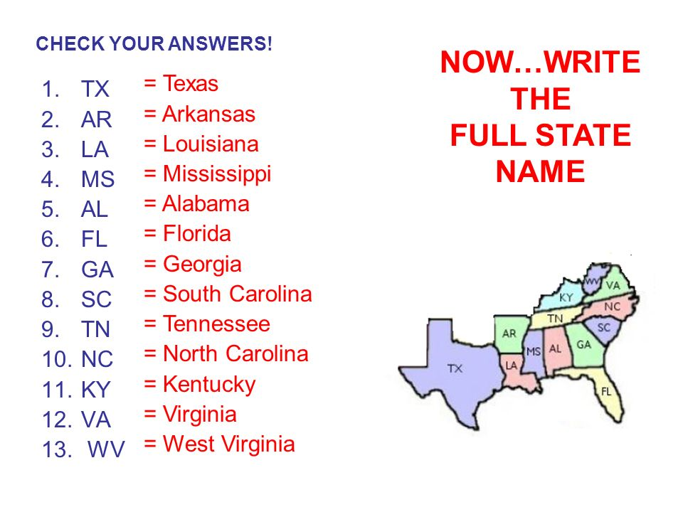 Southeastern States Number Your Paper 1 13 Write The Correct Postal