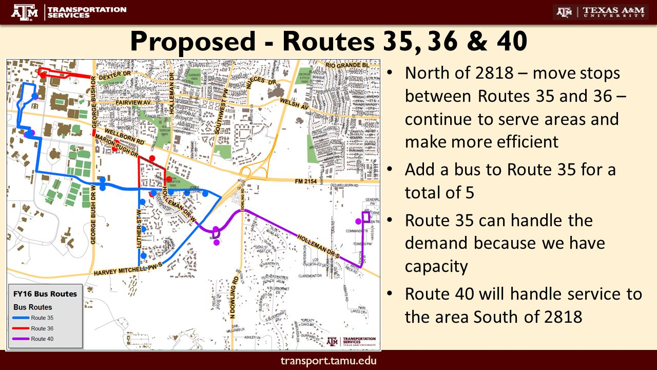 transport.tamu.edu fall 2016 proposed route changes. - ppt download
