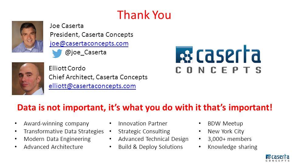 Joe Caserta President Elliott Cordo Chief Architect