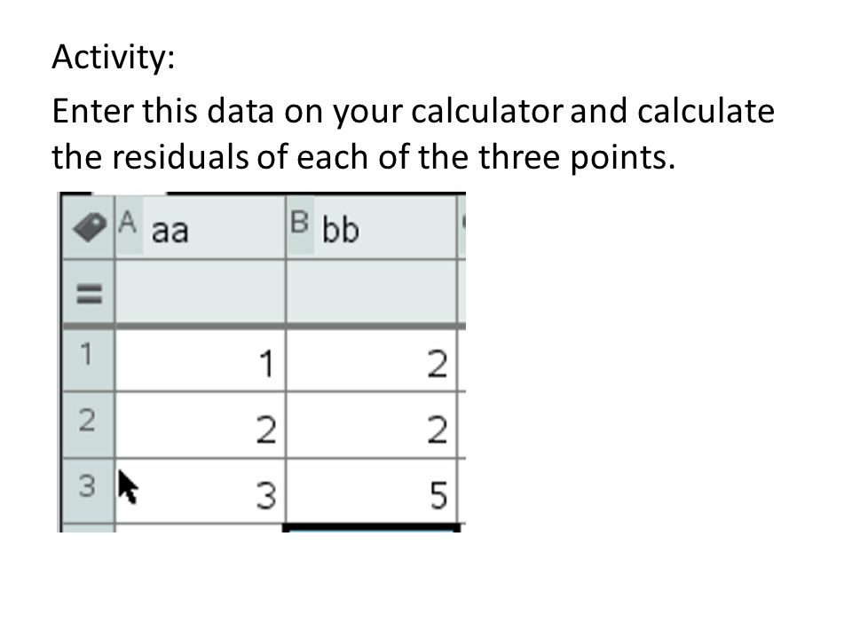Activity: Enter this data on your calculator and calculate the residuals of each of the three points.