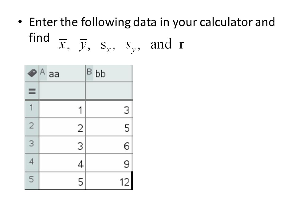 Enter the following data in your calculator and find
