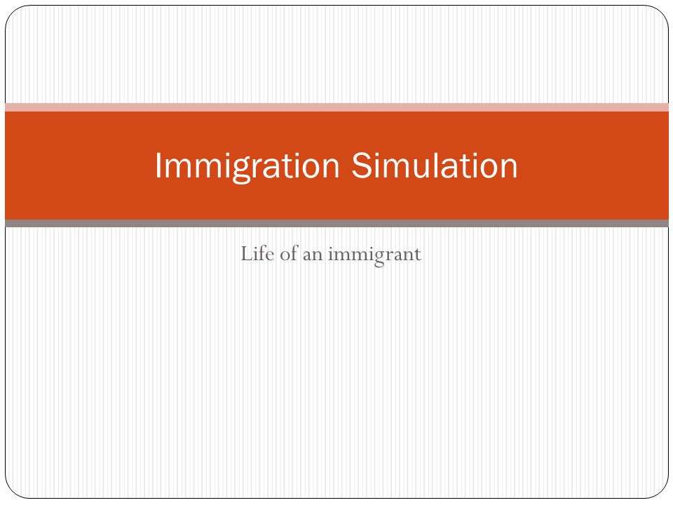 Life of an immigrant Immigration Simulation