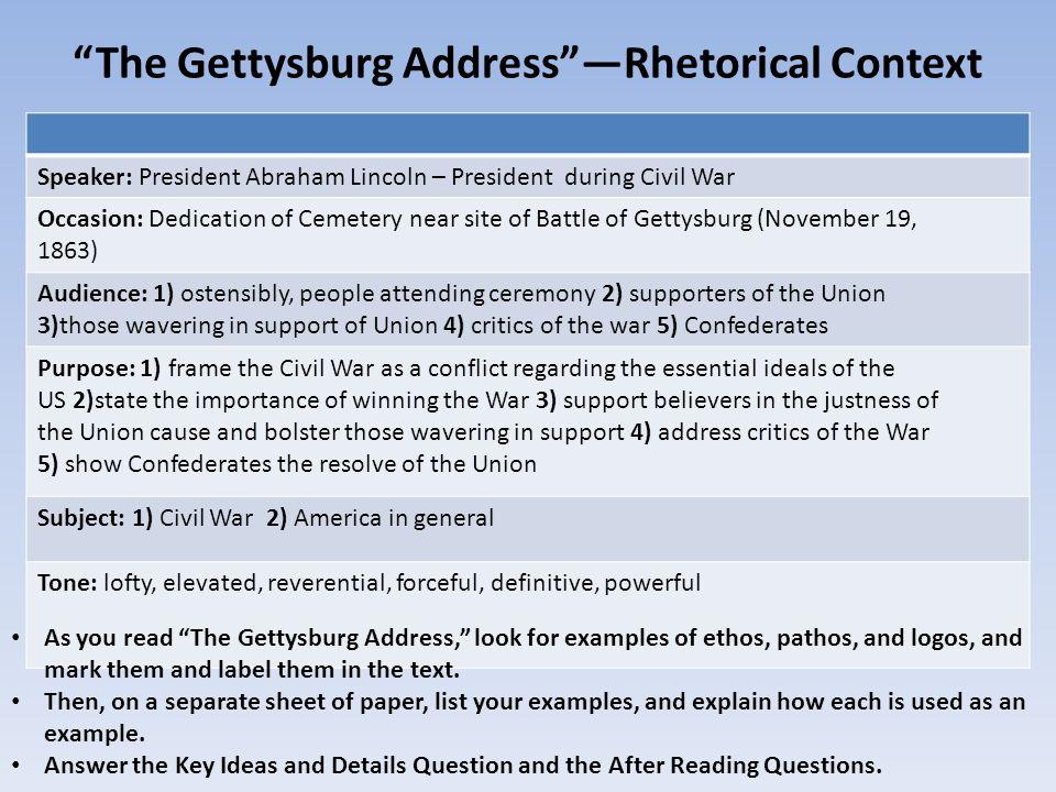 Ethos Pathos And Logos Worksheet Answers The Gettysburg Address