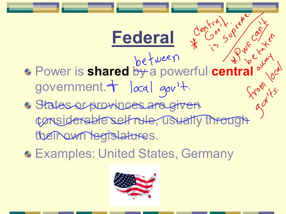 Federal Power is shared by a powerful central government.