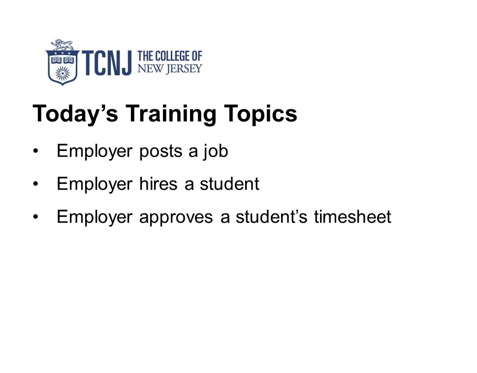 today s training topics employer posts a job employer hires a