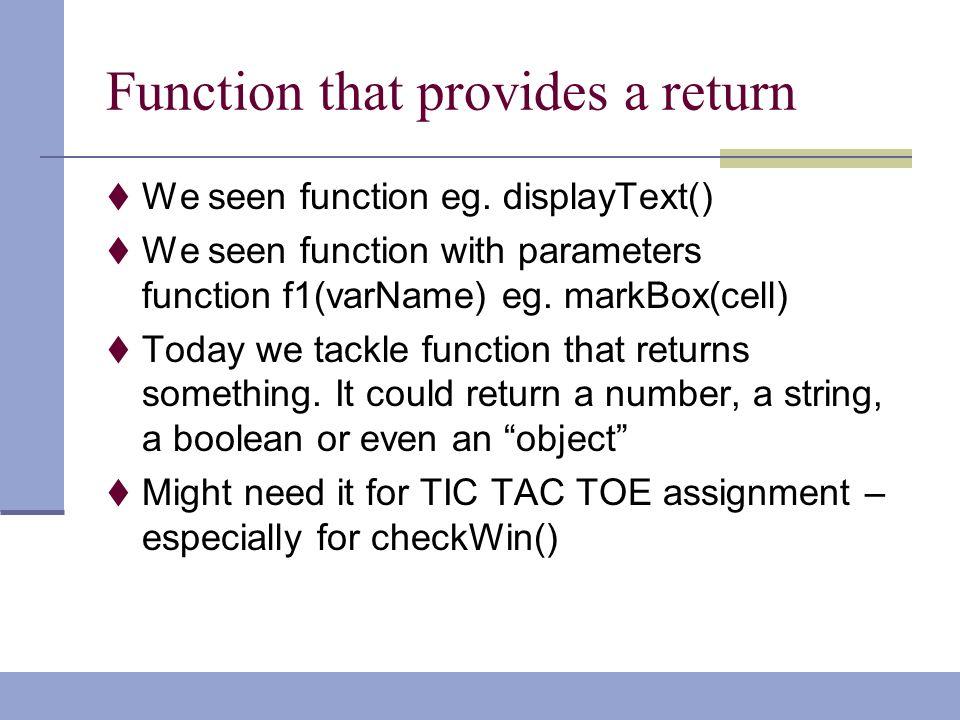 javascript function return boolean