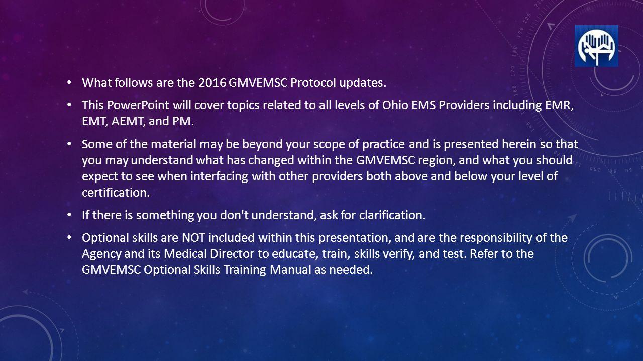2016 Protocol Changes Gmvemsc What Follows Are The 2016 Gmvemsc