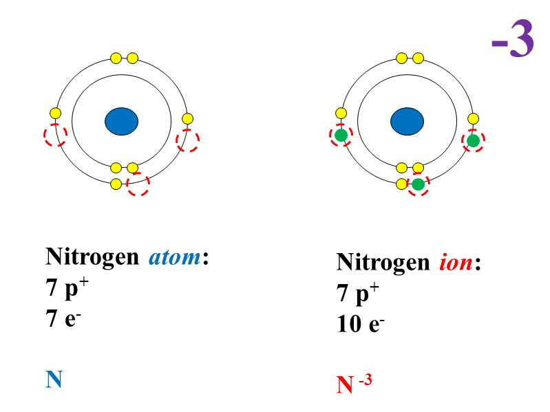 Number of protonsatomic number number of neutronsatomic mass 10 nitrogen atom 7 p 7 e n nitrogen ion 7 p 10 e n 3 3 ccuart
