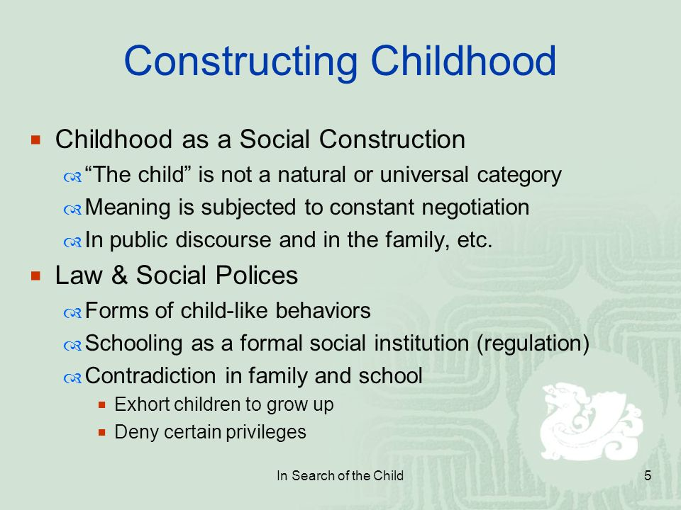 socially constructed childhood - social construction of child and childhood to start with an overview of social constructionism in very general terms leads to build understandings of child and childhood in a social world more explicitly notion of social construction is defined in diverse disciplines and instead of generating a description there are a number of thoughts.