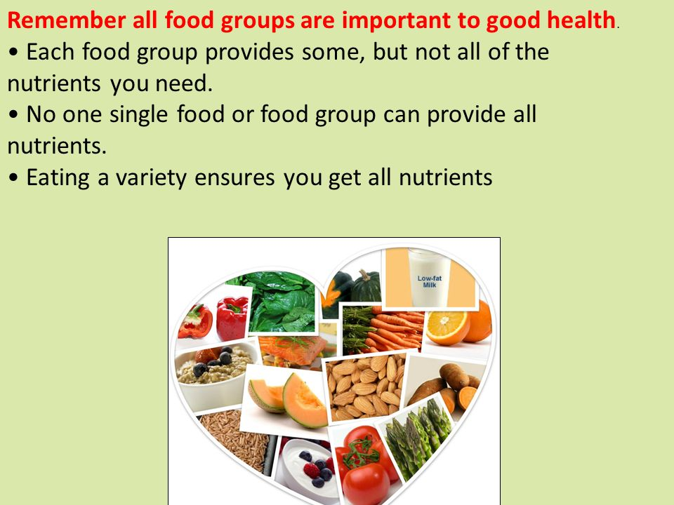 Remember All Food Groups Are Important To Good Health