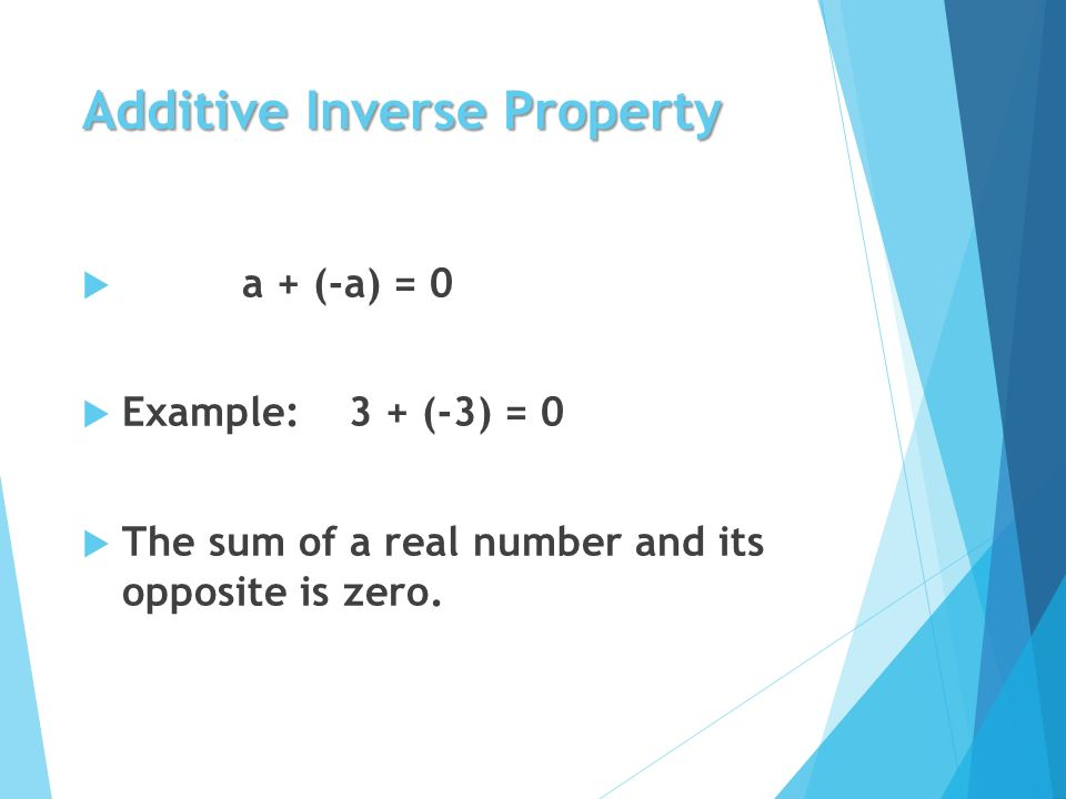 Additive Inverse Property  a + (-a) = 0  Example: 3 + (-3) = 0  The sum of a real number and its opposite is zero.