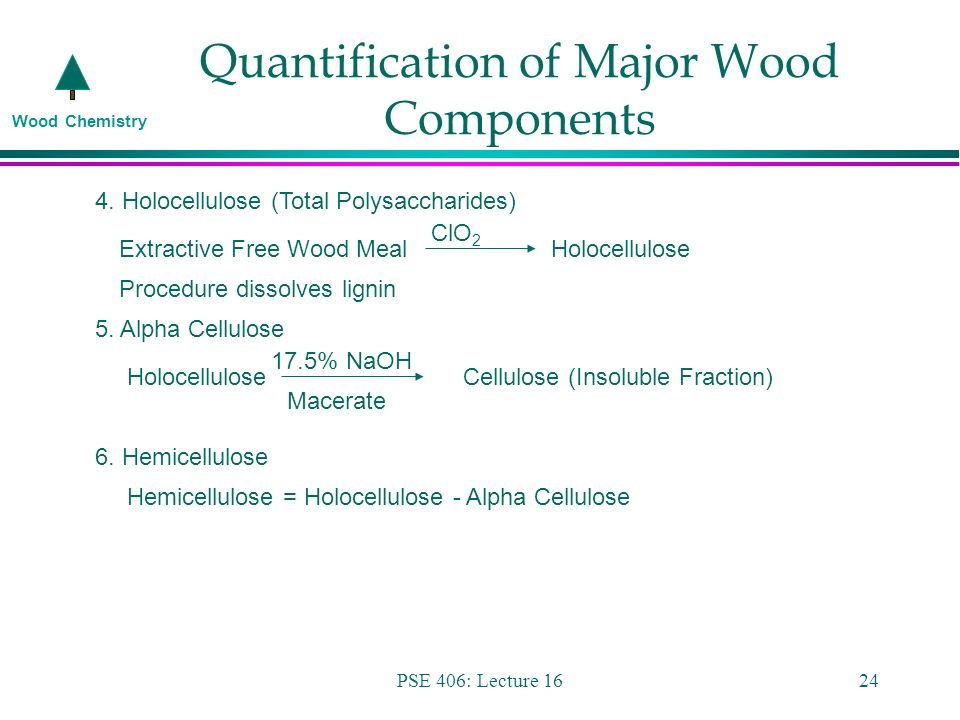 Wood Chemistry PSE 406: Lecture 161 Wood Chemistry PSE 406