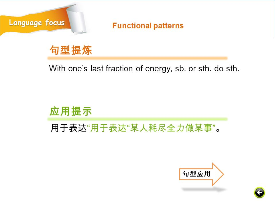 With one's last fraction of energy, sb. or sth. do sth. 句型提炼 应用提示 用于表达 用于表达 某人耗尽全力做某事 。 句型应用