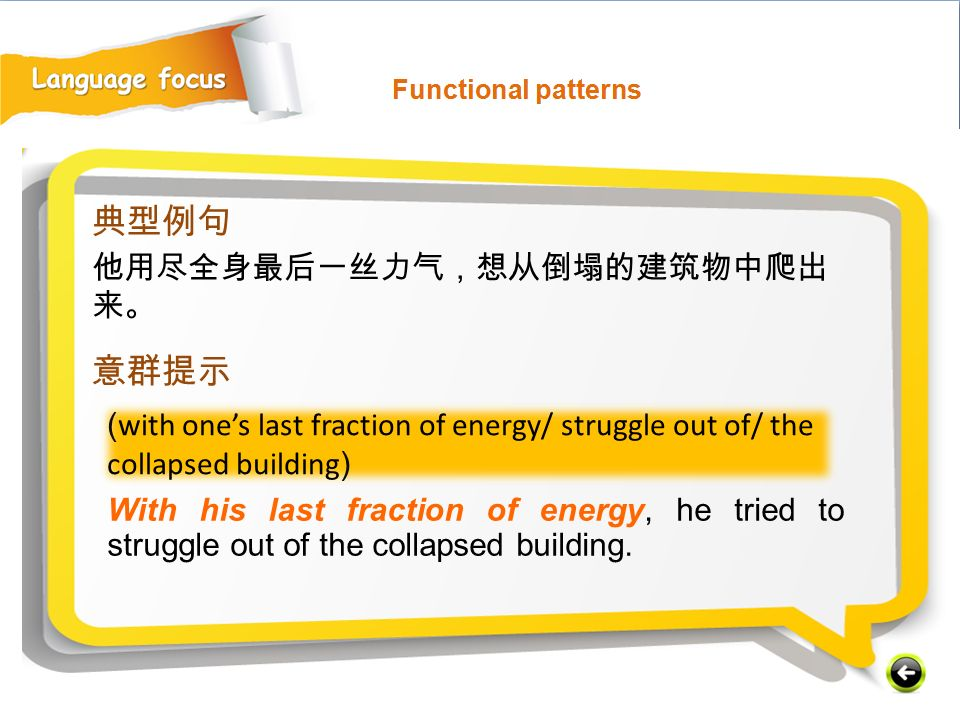( with one's last fraction of energy/ struggle out of/ the collapsed building ) With his last fraction of energy, he tried to struggle out of the collapsed building.