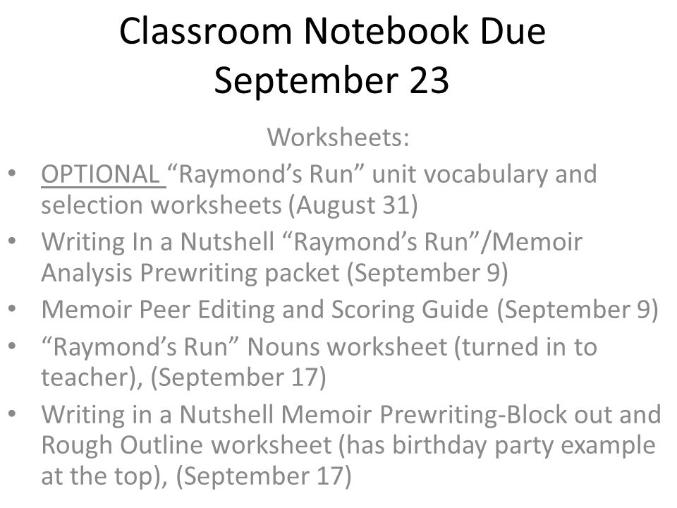 Classroom Notebook Due September 23 Worksheets: OPTIONAL ...