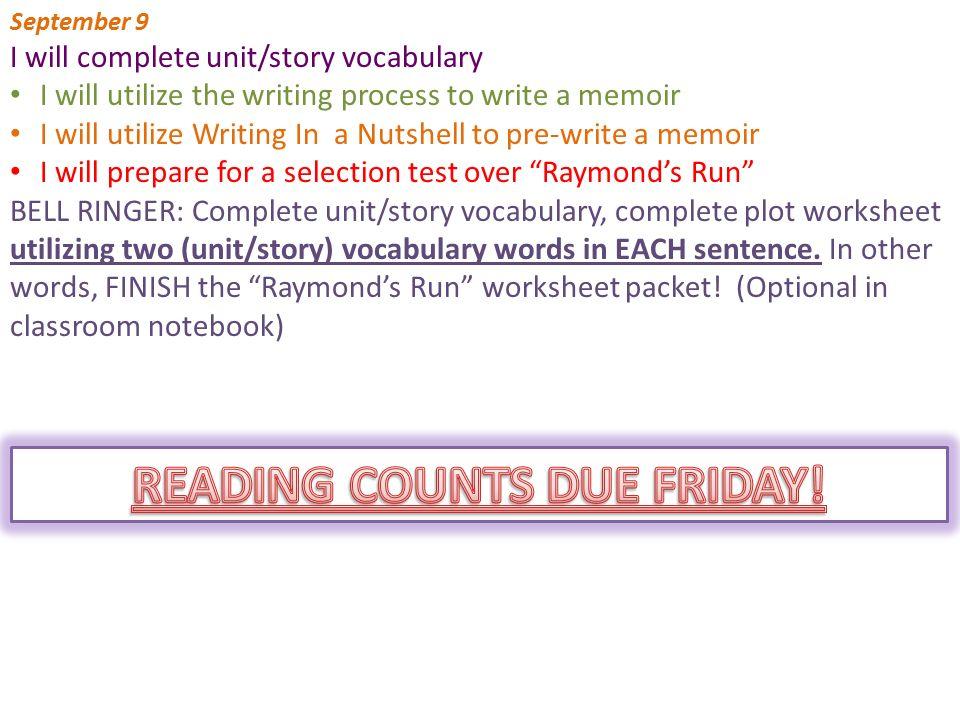 "Classroom Notebook Due September 23 Worksheets: OPTIONAL ""Raymond\'s ..."