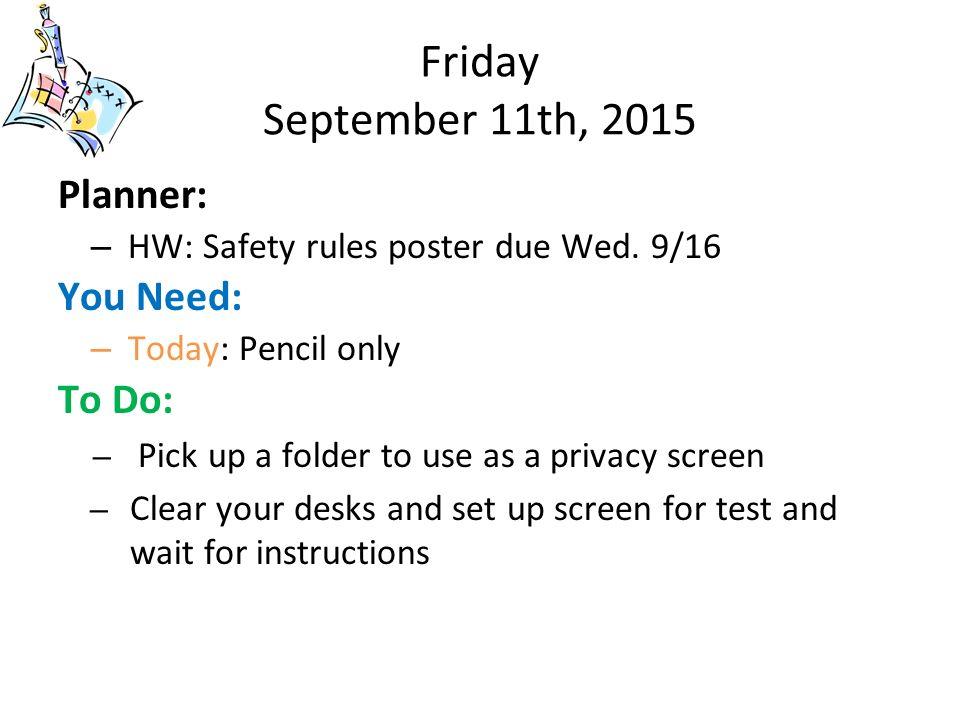 tuesday september 8th 2015 planner hw return syllabus packet