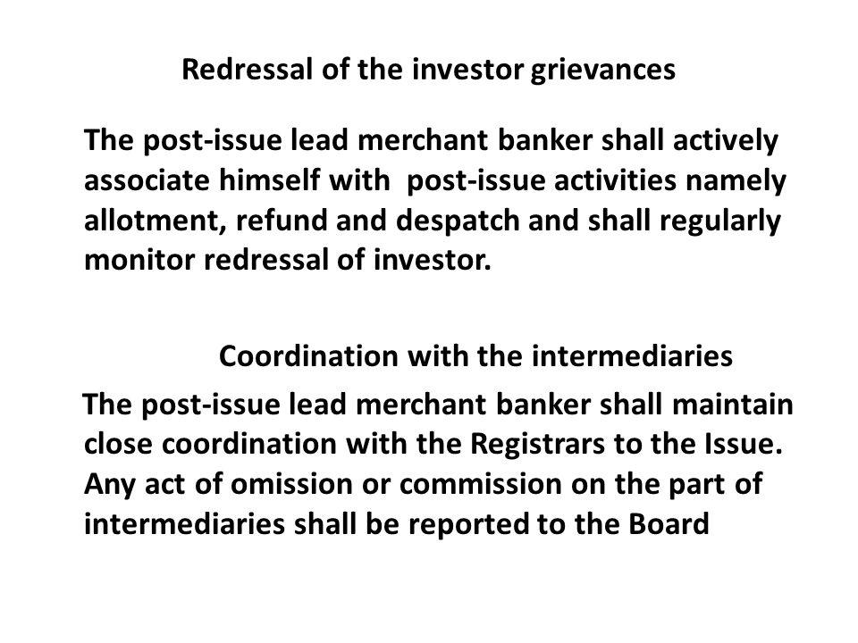 post issue activities of merchant banker