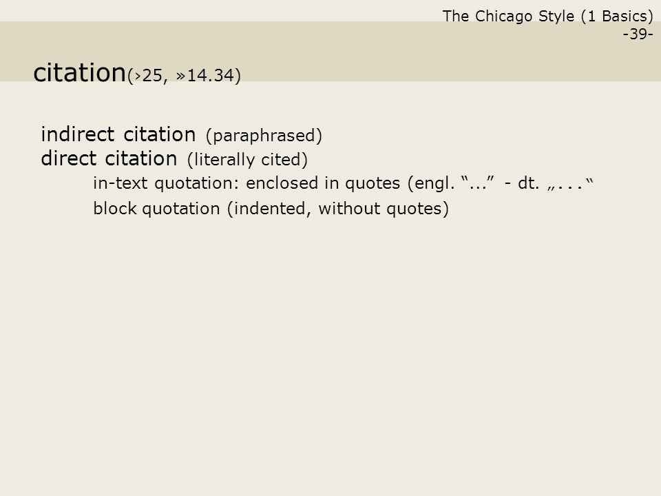citation chicago style In chicago style, footnotes or endnotes are used to reference pieces of work in the text to cite from a source a superscript number is placed after a quote or a paraphrase citation numbers should appear in sequential order.
