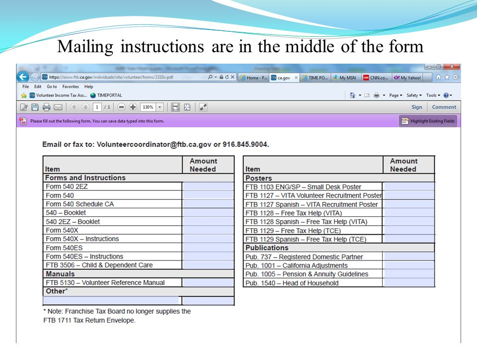 Forms Ordering Procedure 2333v Ca Is Online At Ftb Fill In