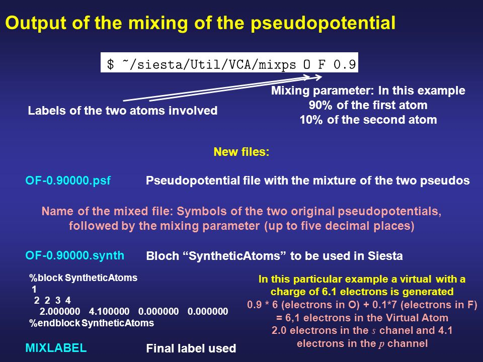How to generate a mixed pseudopotential Objectives Generate a mixed
