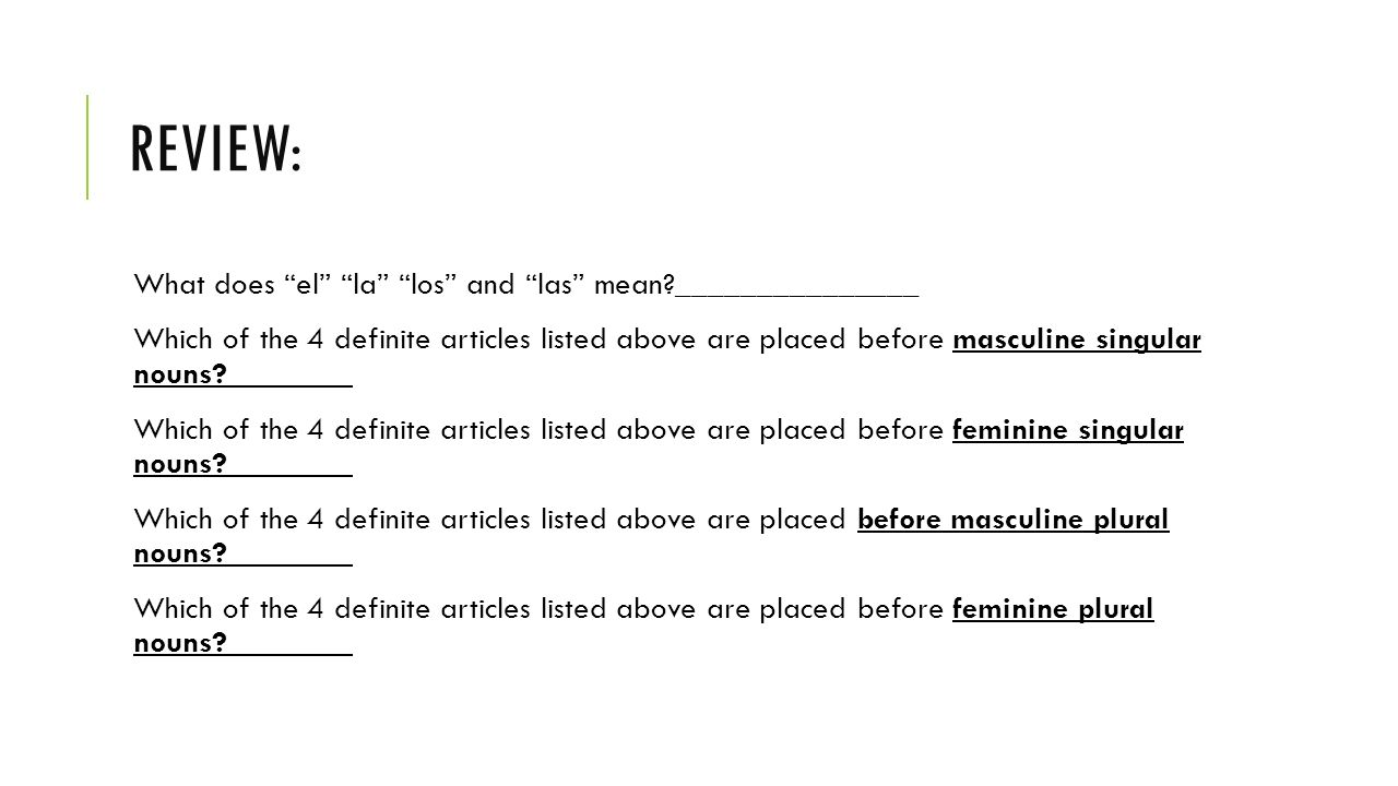 """expressing """"the"""" before masculine and feminine nouns páginas ppt"""