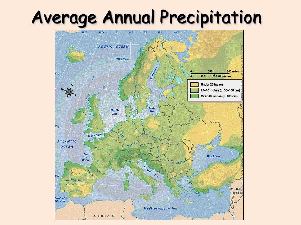 Average Rainfall Map Europe.Europe S Latitude V Us Climateclimate Average Annual