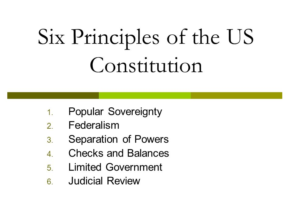 Six Principles of the US Constitution 1. Popular Sovereignty 2.