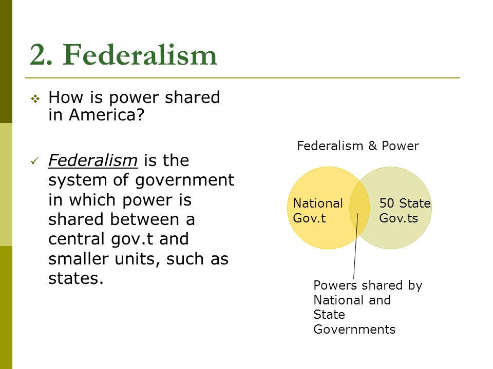 2. Federalism  How is power shared in America.