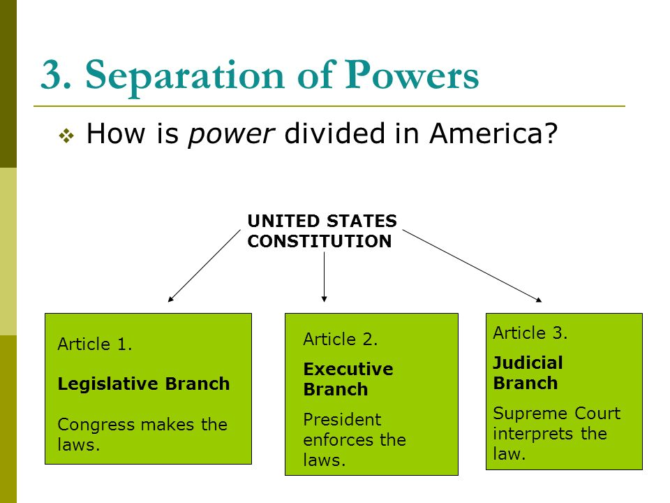 3. Separation of Powers  How is power divided in America.