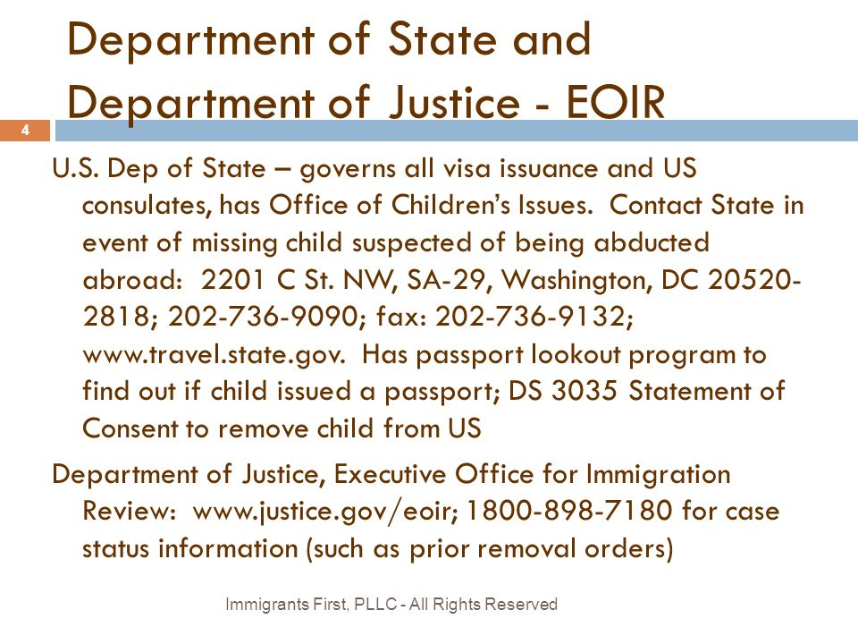 Department of State and Department of Justice - EOIR U.S.