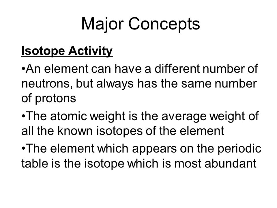 Major concepts isotope activity an element can have a different 1 major concepts isotope activity urtaz Choice Image