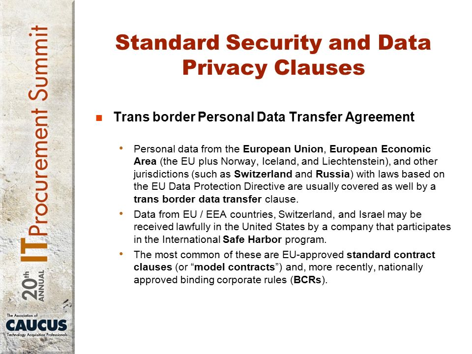 Patty Bednarczyk Overview Standard Data Security Clauses Areas Of