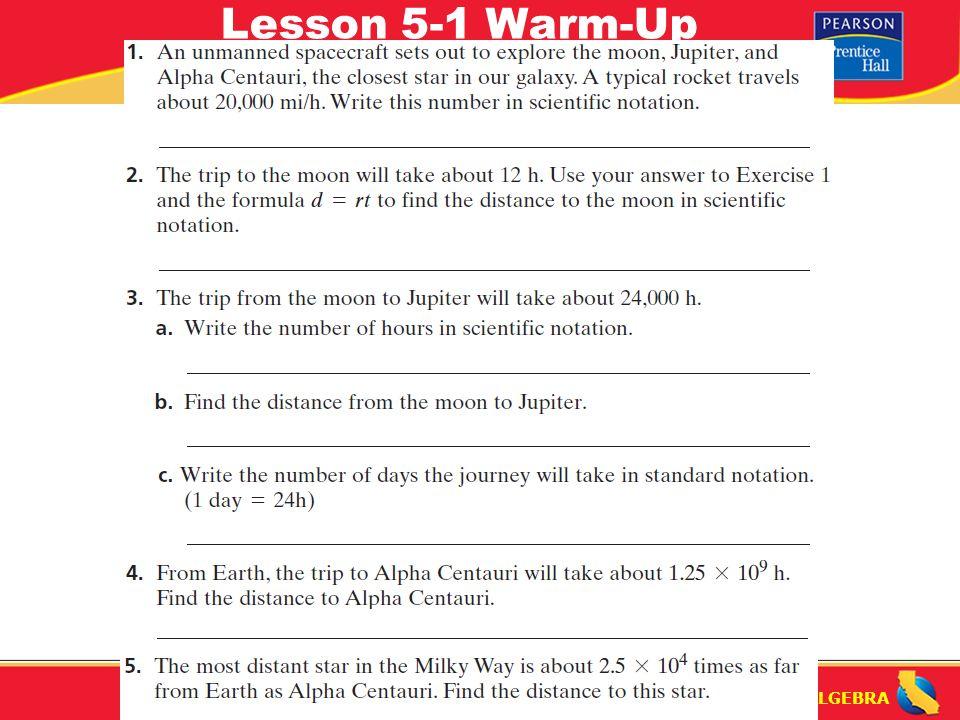 PRE ALGEBRA Lesson 5 1 Warm Up PRE ALGEBRA Comparing And