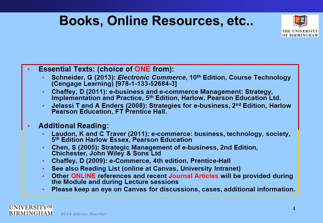 2014 Adrian Boucher 4 Books, Online Resources, etc..