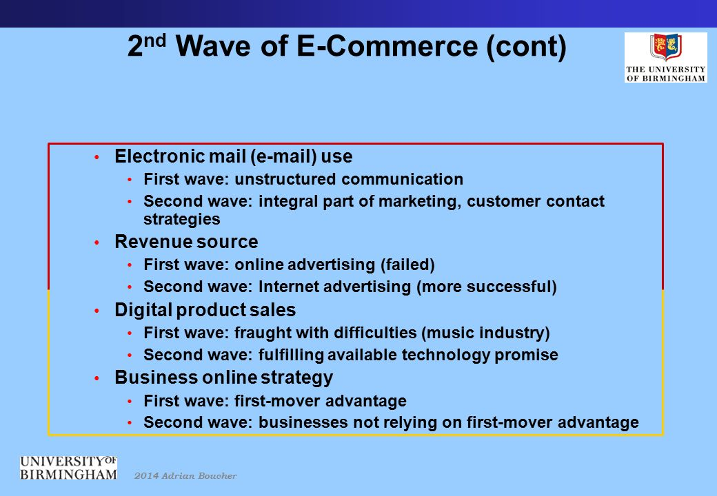 2014 Adrian Boucher 2 nd Wave of E-Commerce (cont) Electronic mail (e-mail) use First wave: unstructured communication Second wave: integral part of marketing, customer contact strategies Revenue source First wave: online advertising (failed) Second wave: Internet advertising (more successful) Digital product sales First wave: fraught with difficulties (music industry) Second wave: fulfilling available technology promise Business online strategy First wave: first-mover advantage Second wave: businesses not relying on first-mover advantage