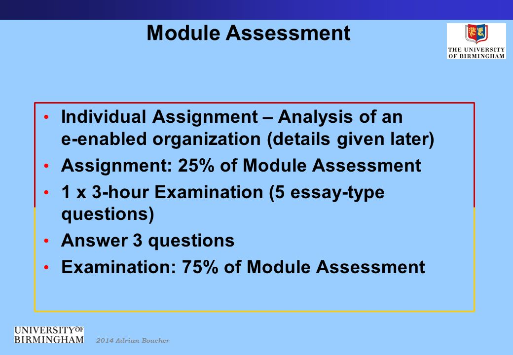 2014 Adrian Boucher Module Assessment Individual Assignment – Analysis of an e-enabled organization (details given later) Assignment: 25% of Module Assessment 1 x 3-hour Examination (5 essay-type questions) Answer 3 questions Examination: 75% of Module Assessment