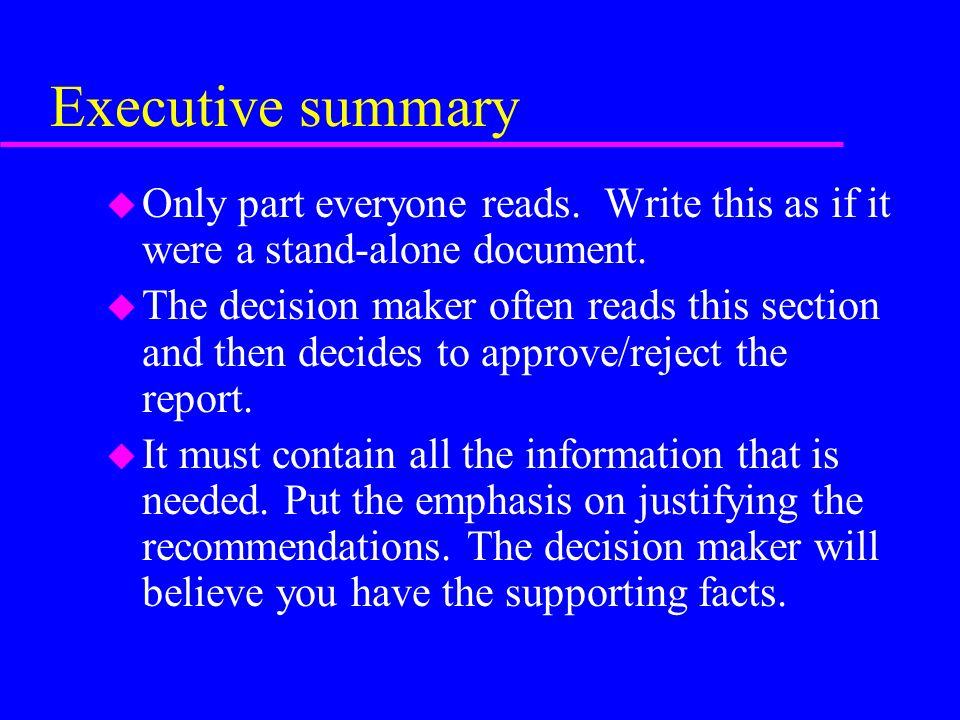 how to write a recommendation report