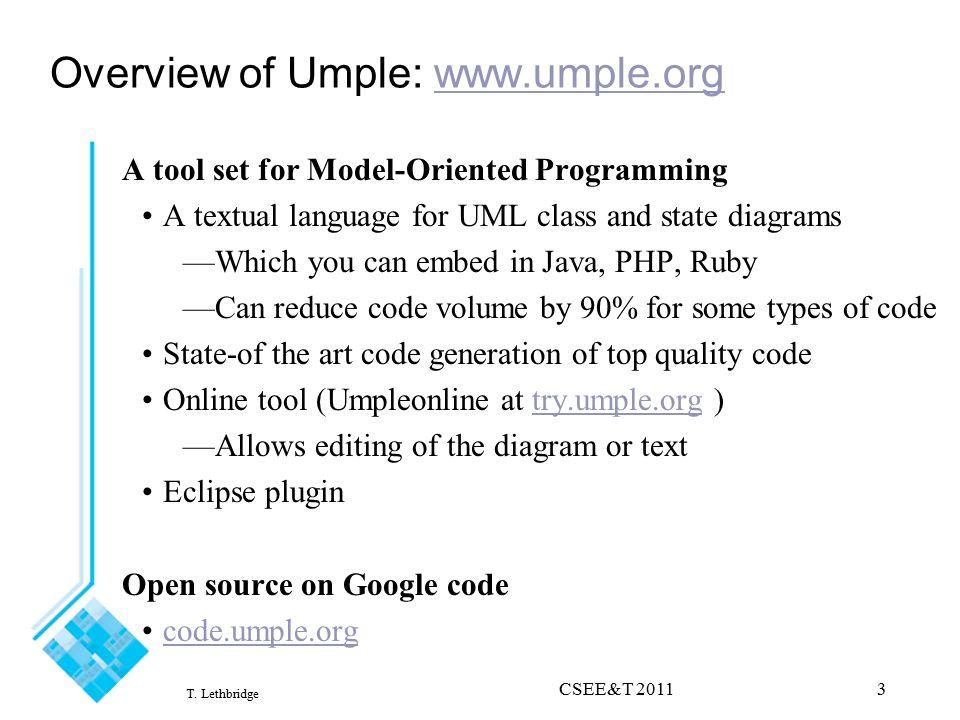 Teaching Uml Using Umple Applying Model Oriented Programming In The