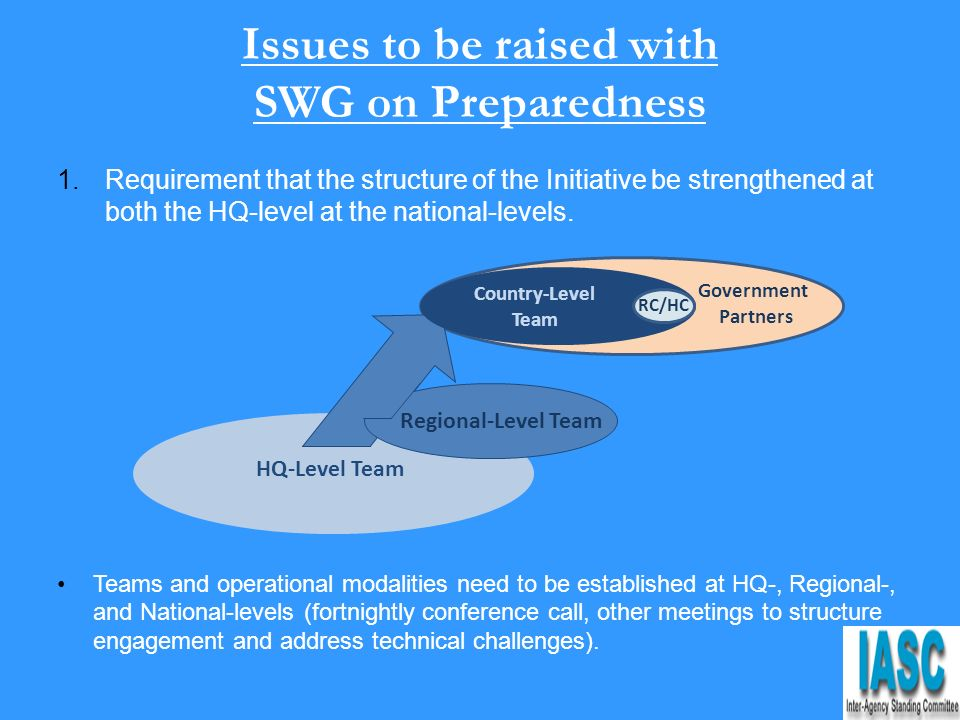 Issues to be raised with SWG on Preparedness 1.Requirement that the structure of the Initiative be strengthened at both the HQ-level at the national-levels.