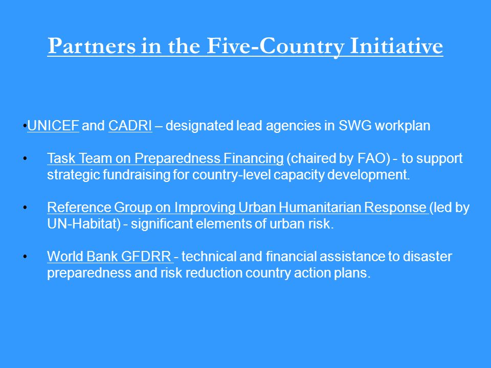 Partners in the Five-Country Initiative UNICEF and CADRI – designated lead agencies in SWG workplan Task Team on Preparedness Financing (chaired by FAO) - to support strategic fundraising for country-level capacity development.