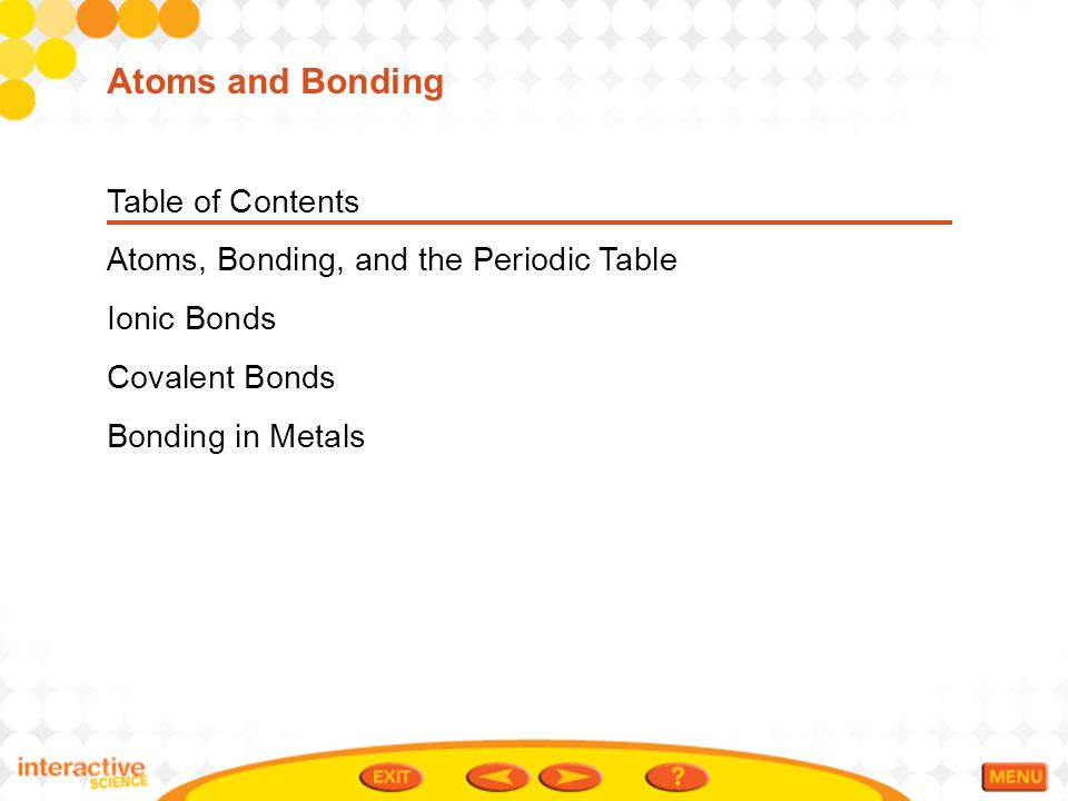 Table Of Contents Atoms Bonding And The Periodic Table Ionic Bonds