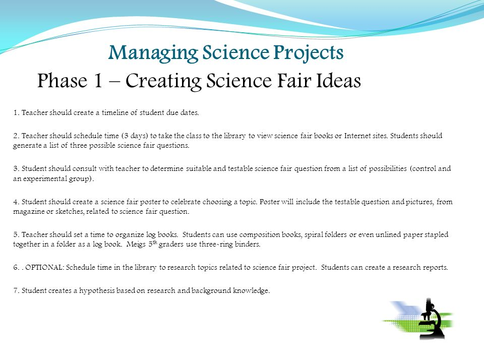 Managing Science Projects Phase 1 Creating Fair Ideas