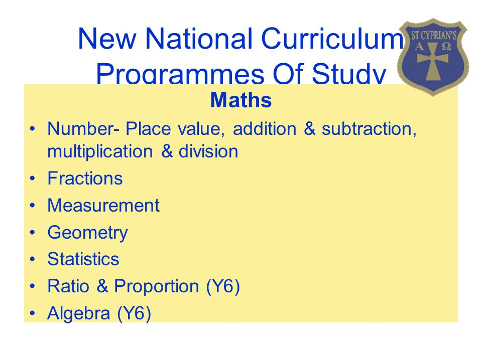 New National Curriculum Programmes Of Study Maths Number- Place value, addition & subtraction, multiplication & division Fractions Measurement Geometry Statistics Ratio & Proportion (Y6) Algebra (Y6)