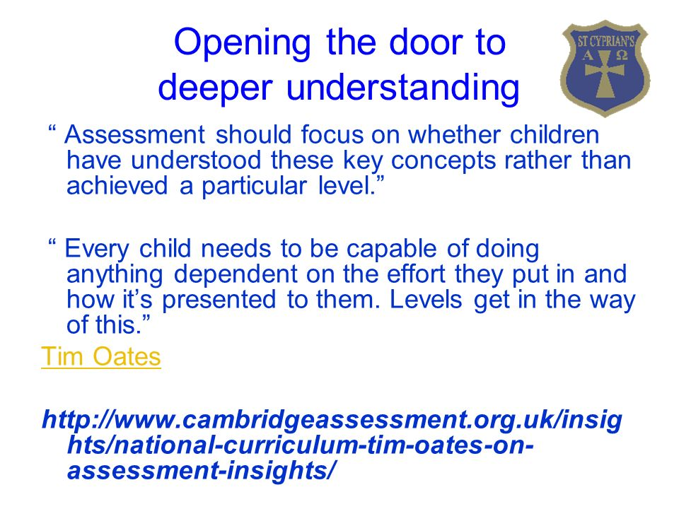 Opening the door to deeper understanding Assessment should focus on whether children have understood these key concepts rather than achieved a particular level. Every child needs to be capable of doing anything dependent on the effort they put in and how it's presented to them.