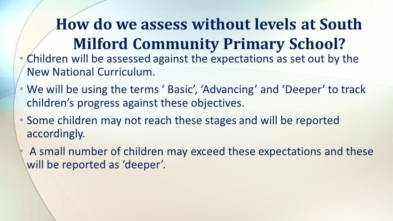 How do we assess without levels at South Milford Community Primary School.