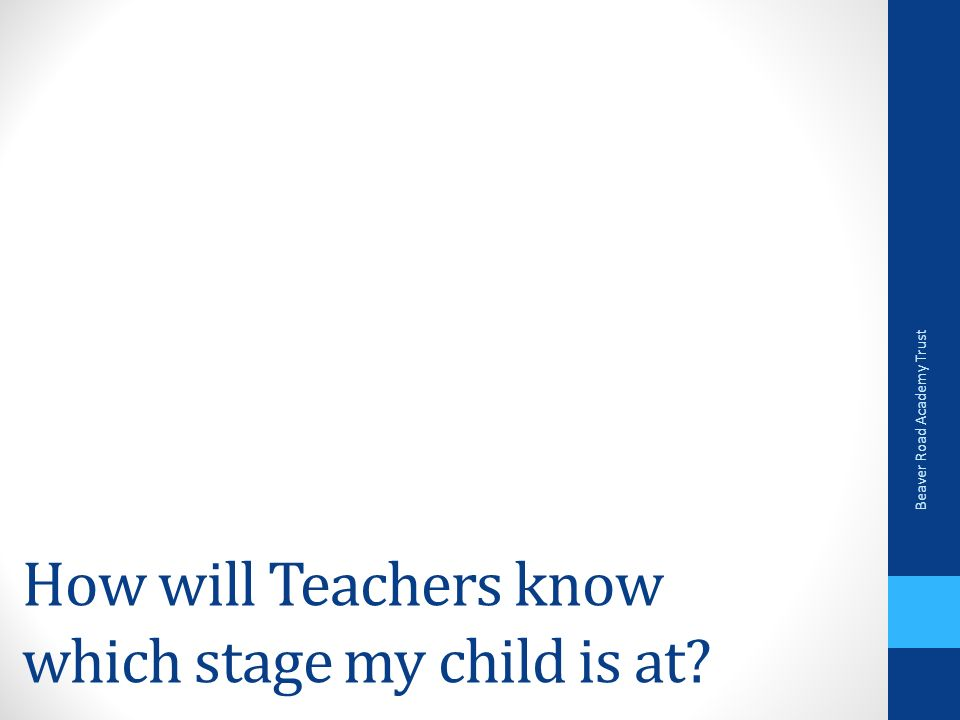 How will Teachers know which stage my child is at Beaver Road Academy Trust